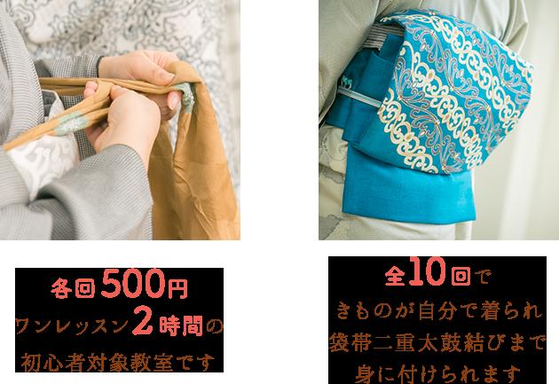 各回500円ワンレッスン2時間の初心者対象教室です 全10回できものが自分で着られ袋帯二重太鼓結びまで身に付けられます